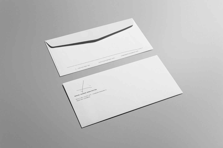 branding desenvolvimento de envelope miguel gaspar arquitectos