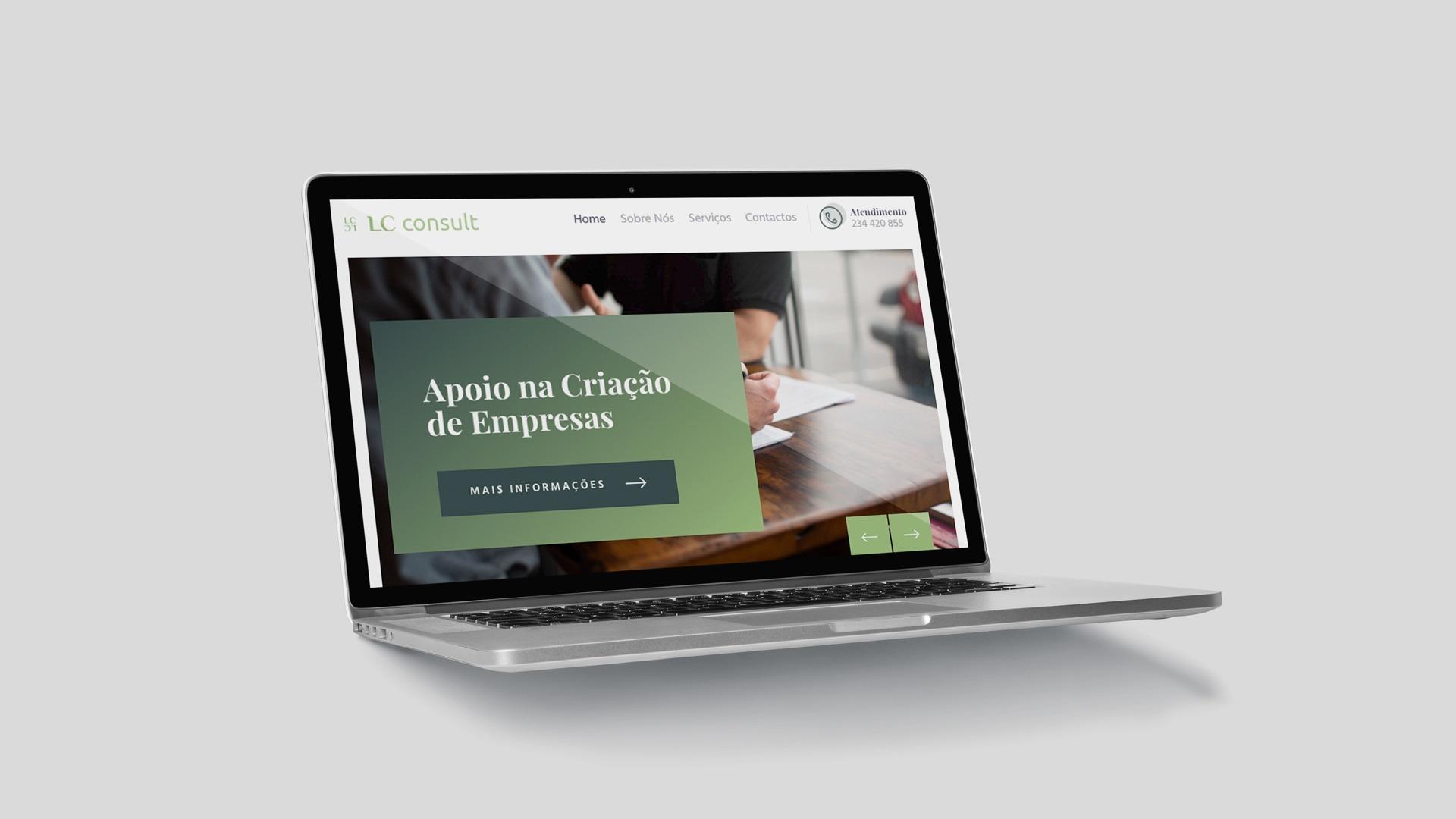 desenvolvimento de website lc consult criado pela agência react
